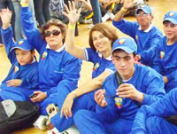 Este es el grupo de Discapacidad de Chía que  participa desde hoy en las olimpiadas  FIDES  2011
