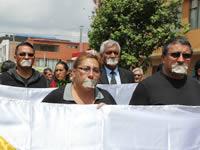 En silencio marcharon  comunales para protestar por el asesinato de líderes en Soacha