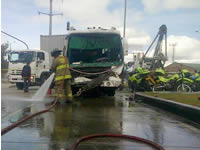 Empresas de Soacha protagonizan múltiple accidente en la frontera con Bogotá