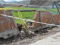 Luego de dos años y medio, comienza reconstrucción del muro en el Polideportivo Compartir