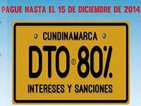 Descuento  en pago del impuesto de vehículos en Cundinamarca