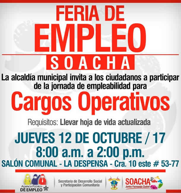 Alcaldía de Soacha invita a Feria de empleo