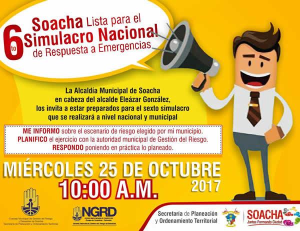 Alcaldía de Soacha invita a participar en el simulacro nacional