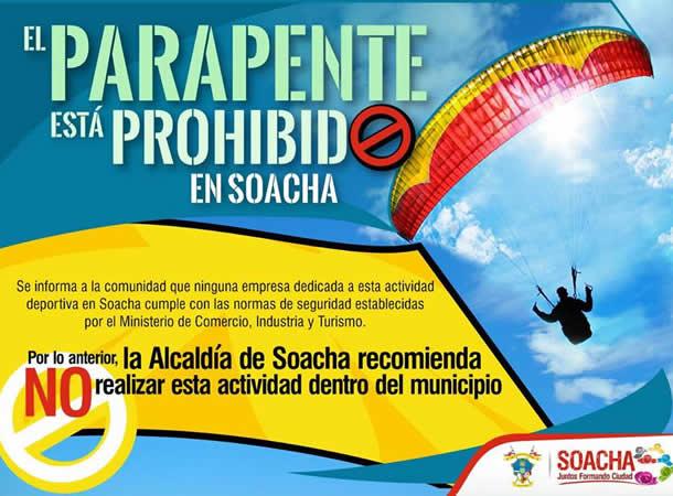 Prohiben el parapente en Soacha