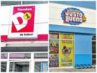 ¿Cuántos locales tienen  D1, Justo & Bueno, Ara y Cooratiendas en Colombia?
