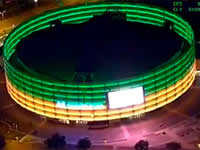 Movistar Arena se ilumina como homenaje a cadetes asesinados