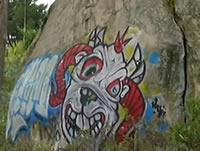 Grafiteros dañan pintura rupestre en Soacha