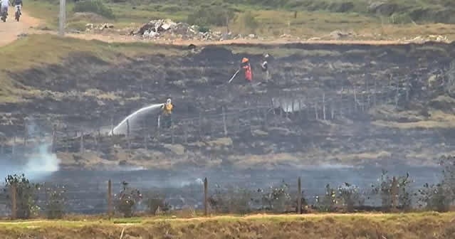 Controlado incendio sobre la ronda del Río Bogotá en su paso por Soacha