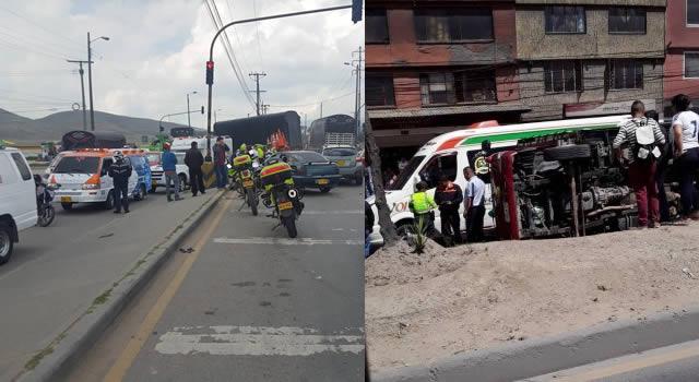 Volcamiento de vehículo originó inmenso trancón en Soacha