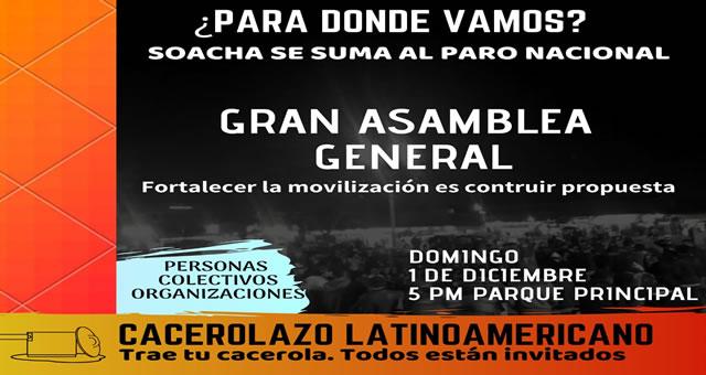 Con asamblea general de reflexión, Soacha se une al cacerolazo latinoamericano