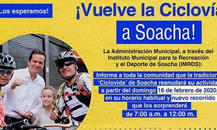 Este domingo vuelve la tradicional 'Ciclovida' a Soacha