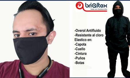 Brialtex, la empresa de Soacha que produce overoles antifluidos resistentes al cloro y tapabocas sublimados