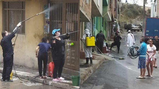 La Veredita unida para desinfectar calles y áreas comunes