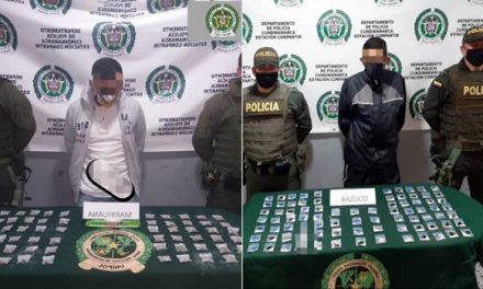 Dos sujetos que portaban estupefacientes fueron capturados en Soacha
