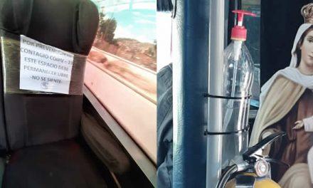 Cara y sello de las medidas de bioseguridad en el transporte público de Soacha