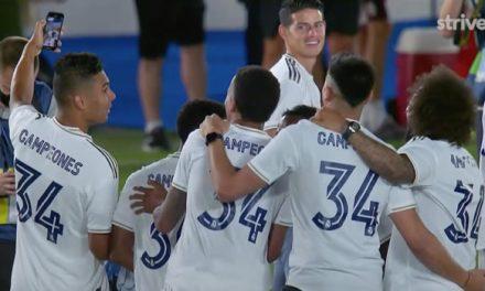 La borrada que le pegaron a James en la celebración del Real Madrid