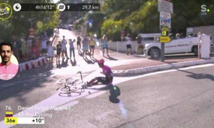 Soachuno Daniel Felipe Martínez sufre caída en el Tour de Francia