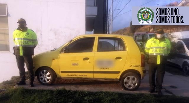 Policía recupera taxi robado en Soacha