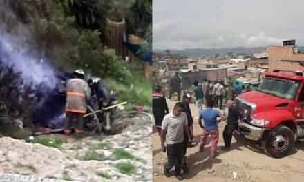 En Soacha, vehículo cae desde un barranco y se incendia