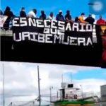 Aparece pancarta que desea muerte al exsenador Álvaro Uribe