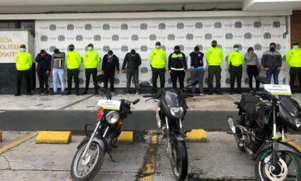 Capturan 8 delincuentes dedicados al robo de motos en Bogotá y Soacha, Cundinamarca