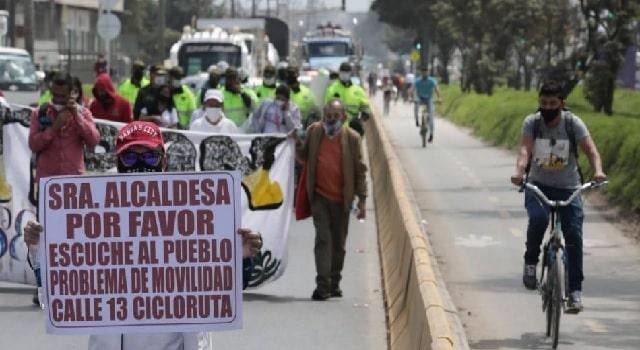 Modifican decisión sobre el bicicarril de la Calle 13 en Bogotá