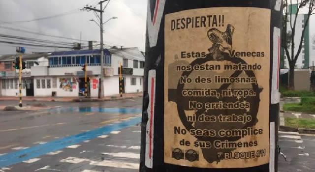 Aparecen panfletos que promueven la xenofobia en Bogotá