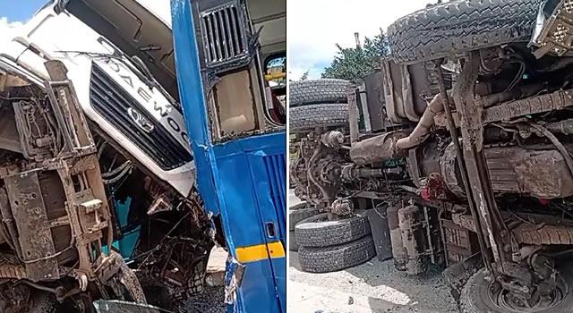 [VIDEO]  Fuerte colisión entre volqueta y bus del SITP en Bogotá