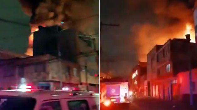 [VIDEOS] Incendio acabó con dos bodegas, un parqueadero y una carpintería en Bogotá