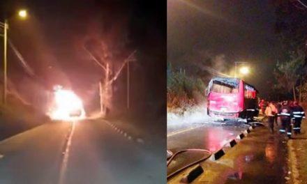 [VIDEO] Sujeto prende fuego a bus de transporte público en la vía Zipaquirá – Cogua