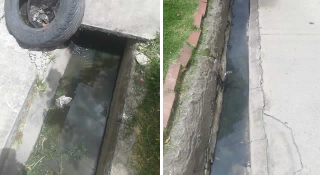 Otro sector de Soacha con las aguas residuales al aire libre