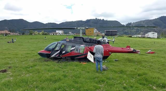 Susto por aterrizaje forzoso de helicóptero en Chía, Cundinamarca