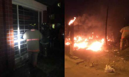 A baldados tocó apagar incendio en Soacha ante daño de máquinas de Bomberos