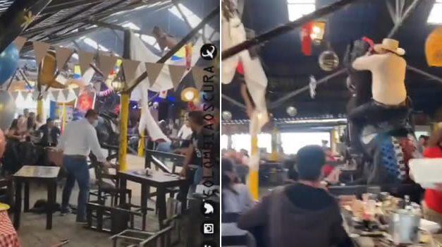 [VIDEO] Caballo rompió platos, vasos y mesas en prestigioso restaurante de Bogotá